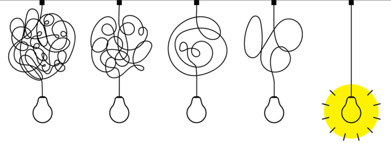 imagen de bombillas representando dificultad y luego la claridad